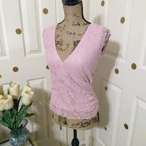 💕Vanity pink crossover blouse